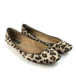 Ann Taylor Leopard Print Calf Hair Flats